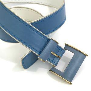 ESCADA VINTAGE Light Blue Leather Gold Trim BELT